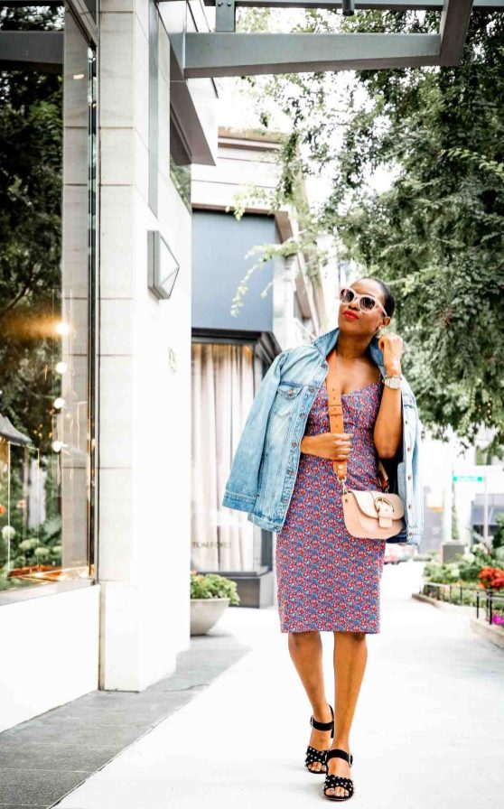 Lifestyle blogger Monica Awe-Etuk of Awed by Monica wearing J.Crew floral dress, denim jacket and black suede sandals for fall fashion_-7