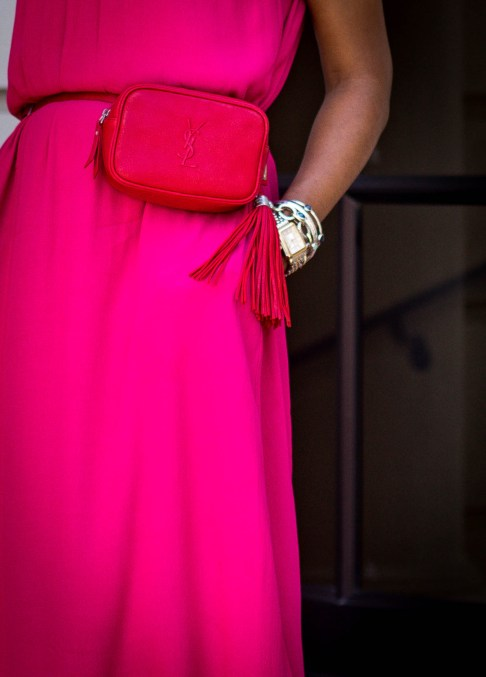 Fashion and Lifestyle blogger Monica Awe-Etuk of Awed by Monica wearing a pink other stories dress with red ysl belt bag
