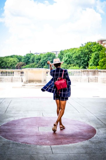 Fashion blogger Monica Awe-Etuk of Awed by Monica wearing a plaid suit from nordstrom, pink flats, a pink hat and a SENREVE bag for fall fashion_-11