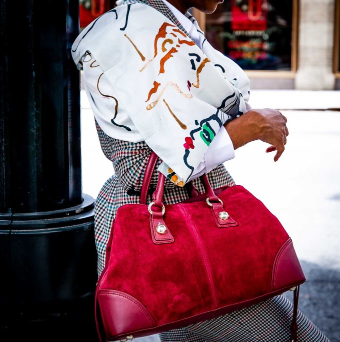 Atlanta fashion and lifestyle blogger Monica Awe-Etuk wearing plaid suit, silk square scarf, sneaker and white shirt from Talbots-20