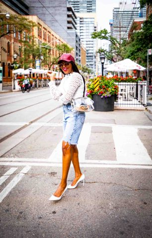 Atlanta fashion and lifestyle blogger wearing denim bermuda shorts from, leather baseball cap, white lace tops, and white pumps-14
