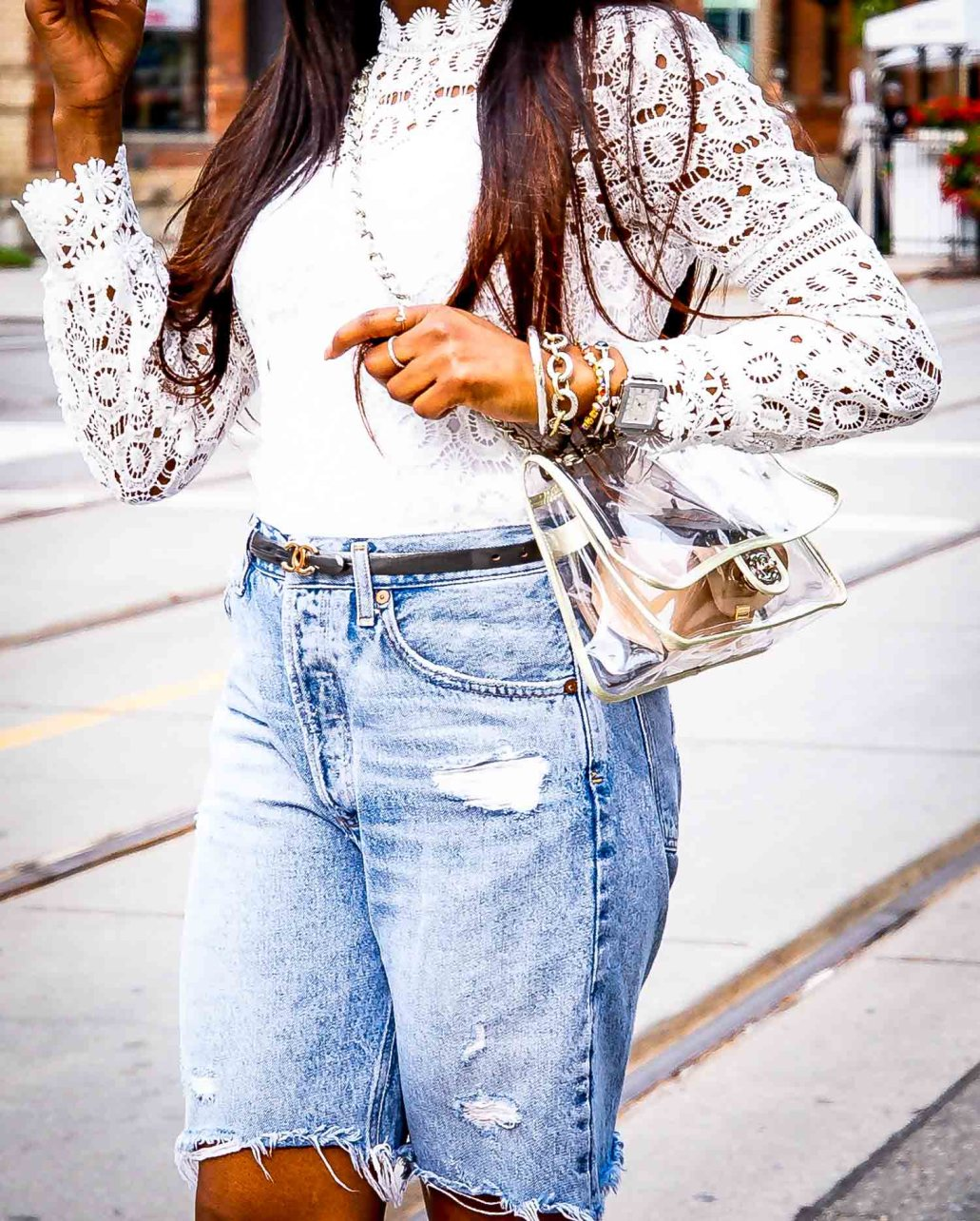 Atlanta fashion and lifestyle blogger wearing denim bermuda shorts from, leather baseball cap, white lace tops, and white pumps-9