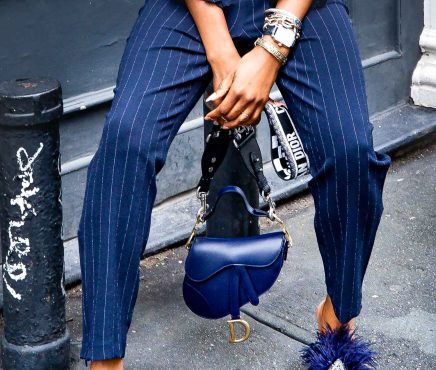 Fashion and lifestyle blogger Monica Awe-Etuk wearing a navy pinstripe suit and feather mules by Tory Brunch and new Christian Dior Saddle bag-8