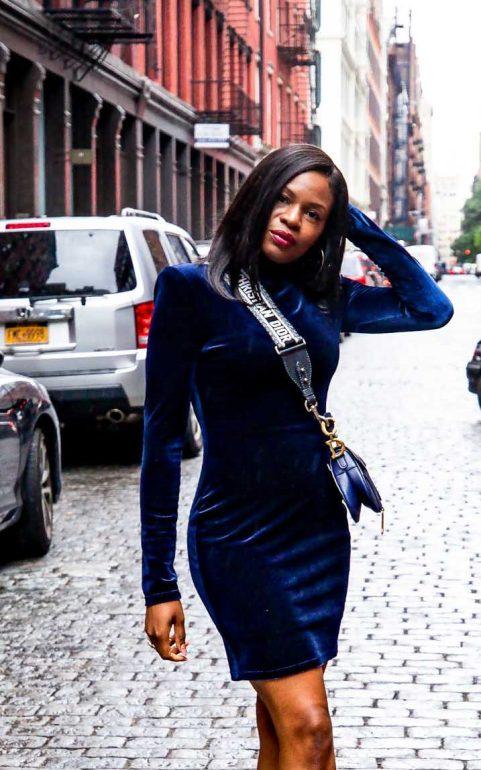 How to give your velvet dress a stylish edge for the holidays. Holiday fashion with Atlanta blogger Monica Awe-Etuk..