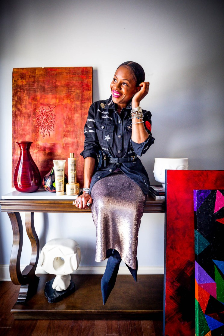Atlanta lifestyle blogger Monica Awe-Etuk wearing cinq a sept denim embroidery jacket and sequins skirt with balenciaga boots achieves great hair with Pantene Gold Series products-4