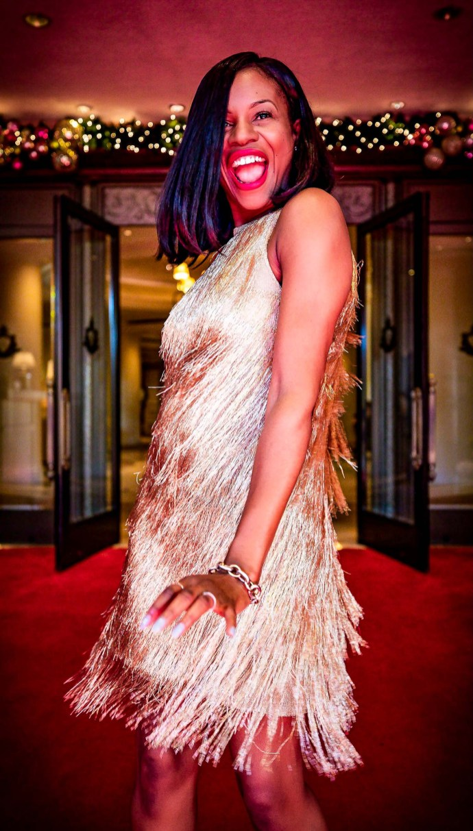 Atlanta fashion blogger Monica Awe-Etuk wearing a Rachel Zoe-Nova Dress and christian louboutin metallic pumps at the beverlyhills hotel in Los Angles for New Years Eve-10