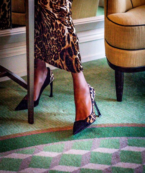 fashion blogger wearing Dior leopard print pums