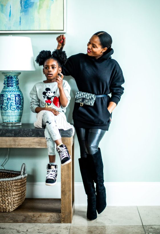 Atlanta lifestyle blogger Monica Awe-Etuk tries healthy hair care products to cut doing her daughter's hair time into half. 2 mango sisters, vegan hair care, black hair, kids hair products