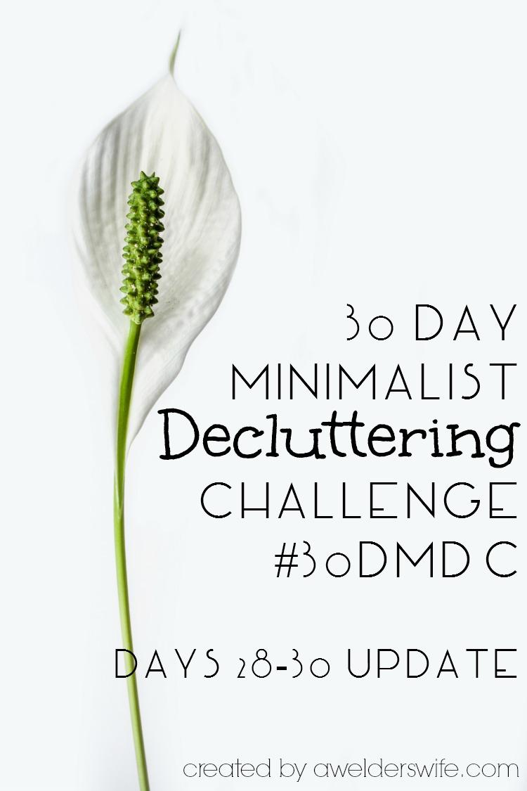 30 Day Minimalist Decluttering Challenge: Days 28-30 Update | www.awelderswife.com #30DMDC