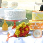 Orange and Yellow Wedding Cake Table