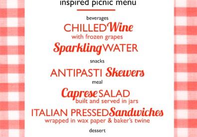 Italian Inspired Picnic Menu