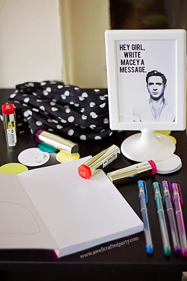 Hey Girl Journal subs at Guest Book at Ryan Gosling themed party // A Well Crafted Party