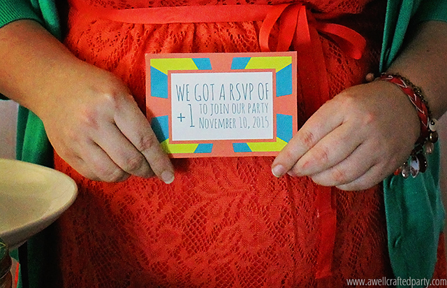 This bright pregnancy announcement is welcoming the new addition to the party! // A Well Crafted Party