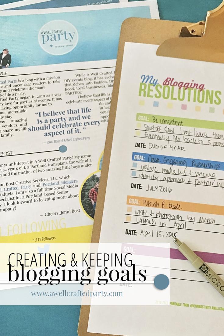 Creating Blogging Goals