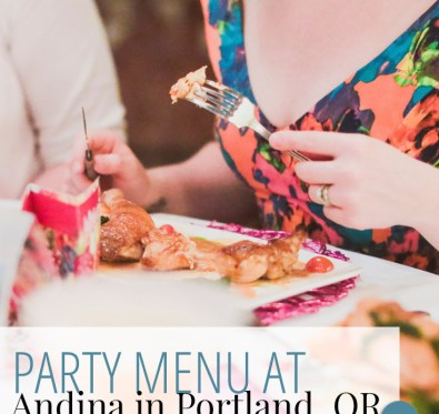Andina's Party Menu for special occasions from A Well Crafted Party