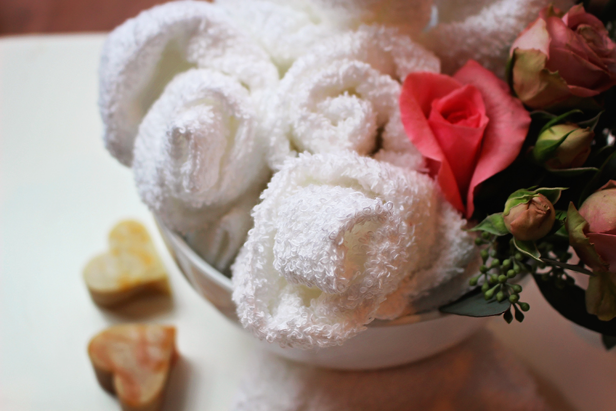 Rose scented chilled or heated towels are the perfect addition to a spa party - A Well Crafted Party