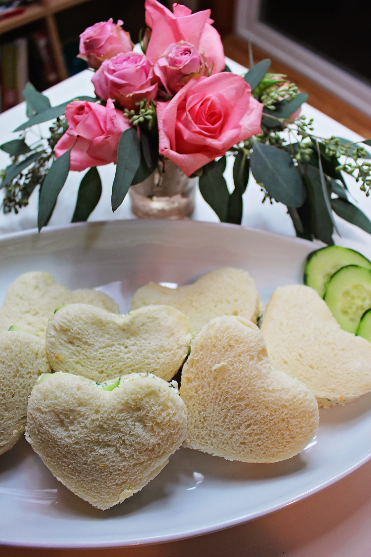 Heart Shaped Cucumber Sandwiches