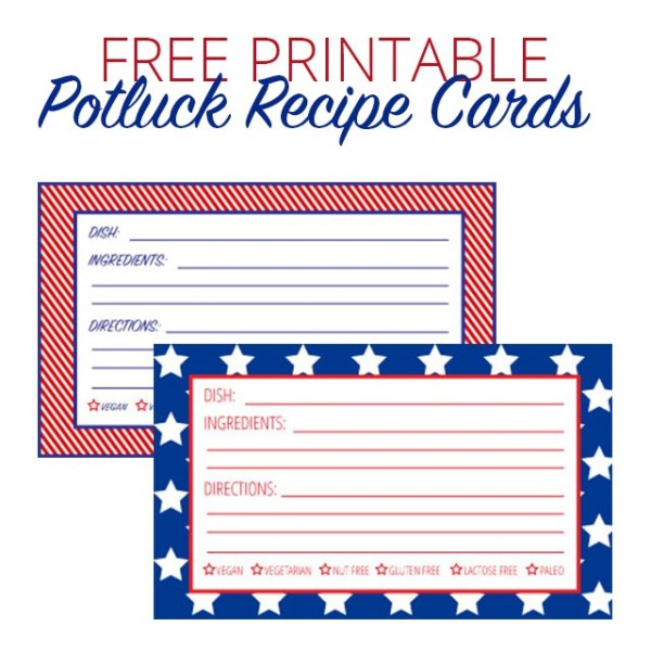 Free July Fourth Printables - Potluck Recipe Cards | A Well Crafted Party