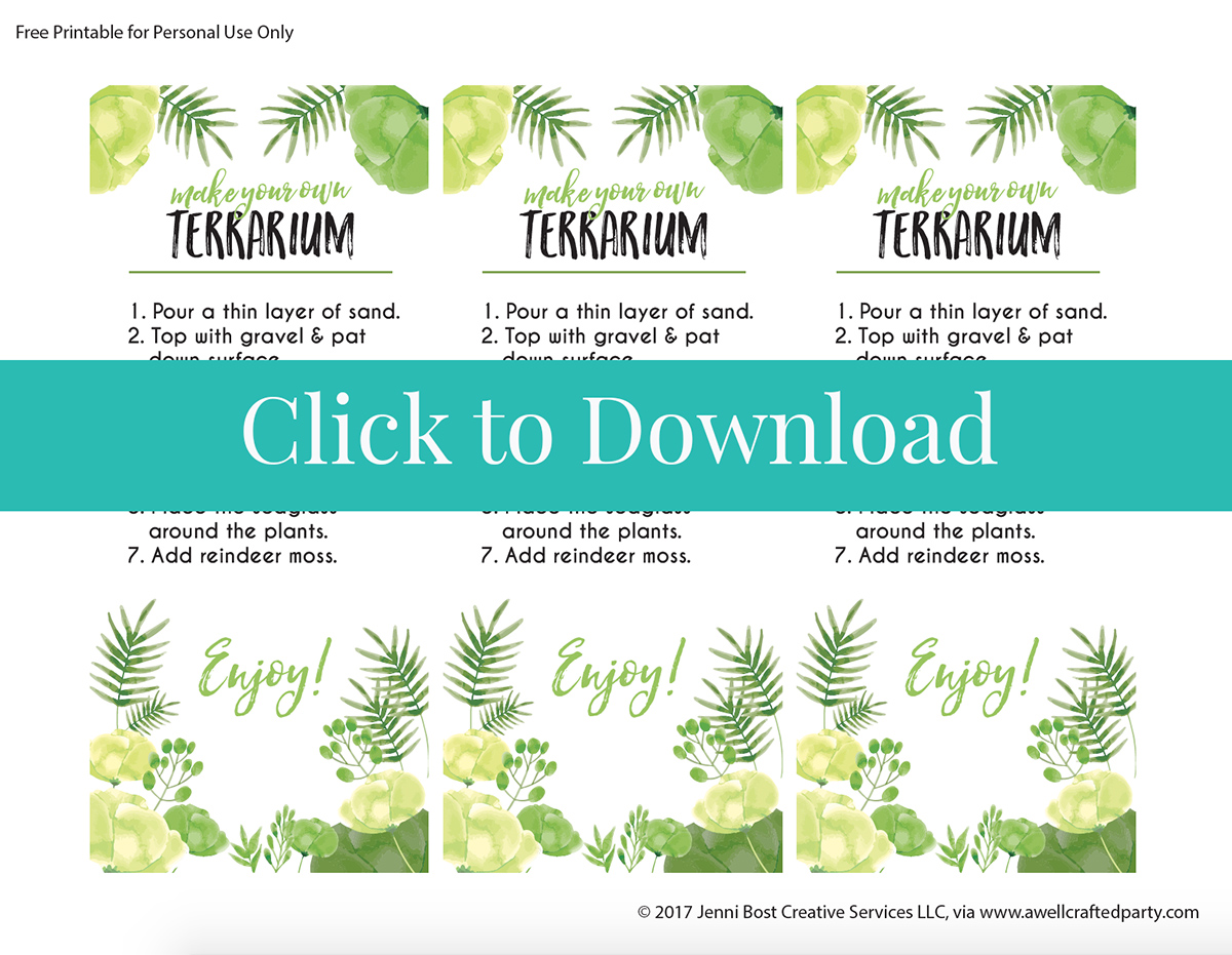 Free Printable Terrarium Instructions for Party Activity | A Well Crafted Party