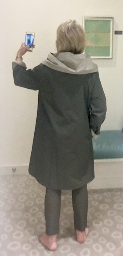 back view of Eileen Fisher reversible raincoat