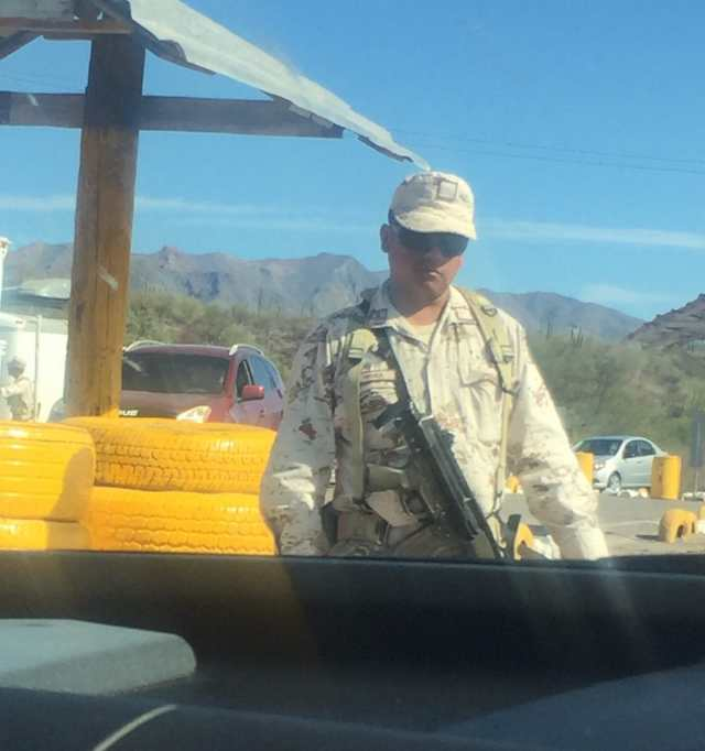 military on the road in Mexico