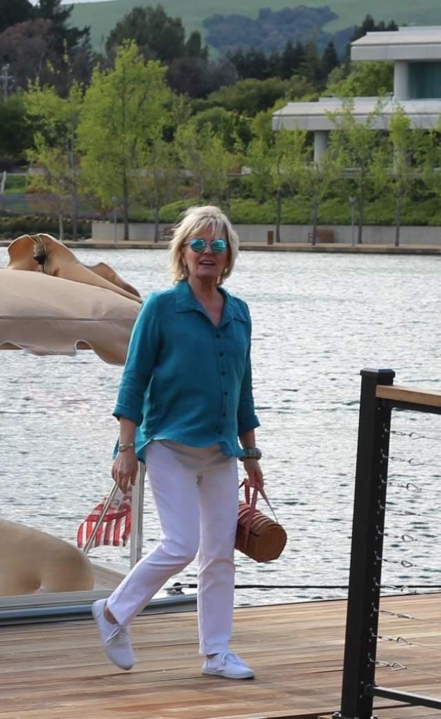 dockside in Lisa Bayne linen shirt