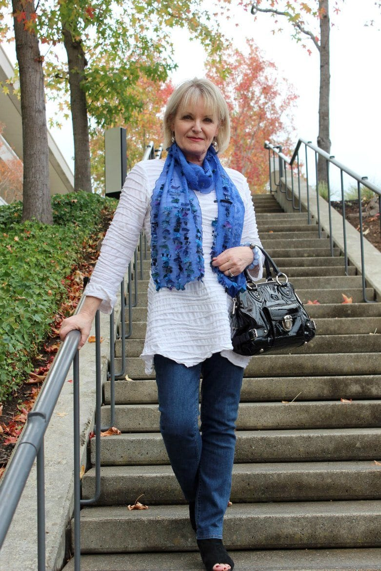 Jennifer Connolly of A Well Styled Life wearing Deborah Pezzo scarf from Artful Home