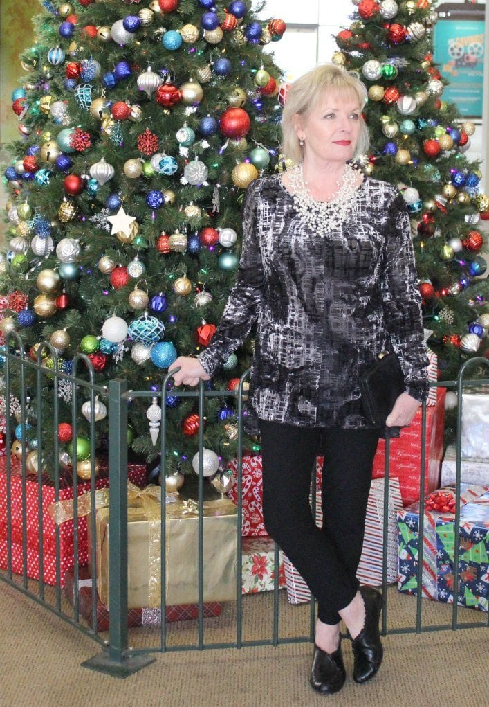 Jennifer Connolly of A Well Styled Life wearing Sno Skins Velvet Top