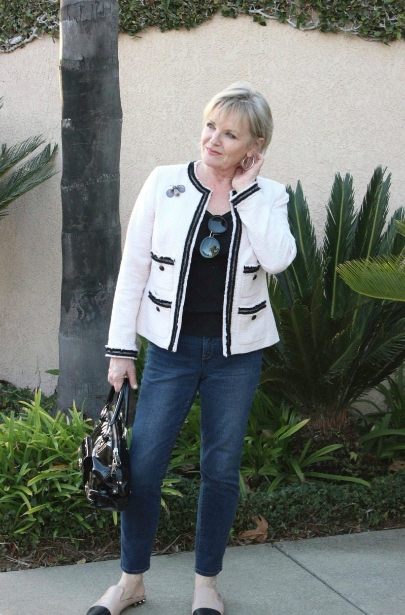 Jennifer Connolly of A Well Styled Life wearing Talbots tweed jacket and Chico's jeans