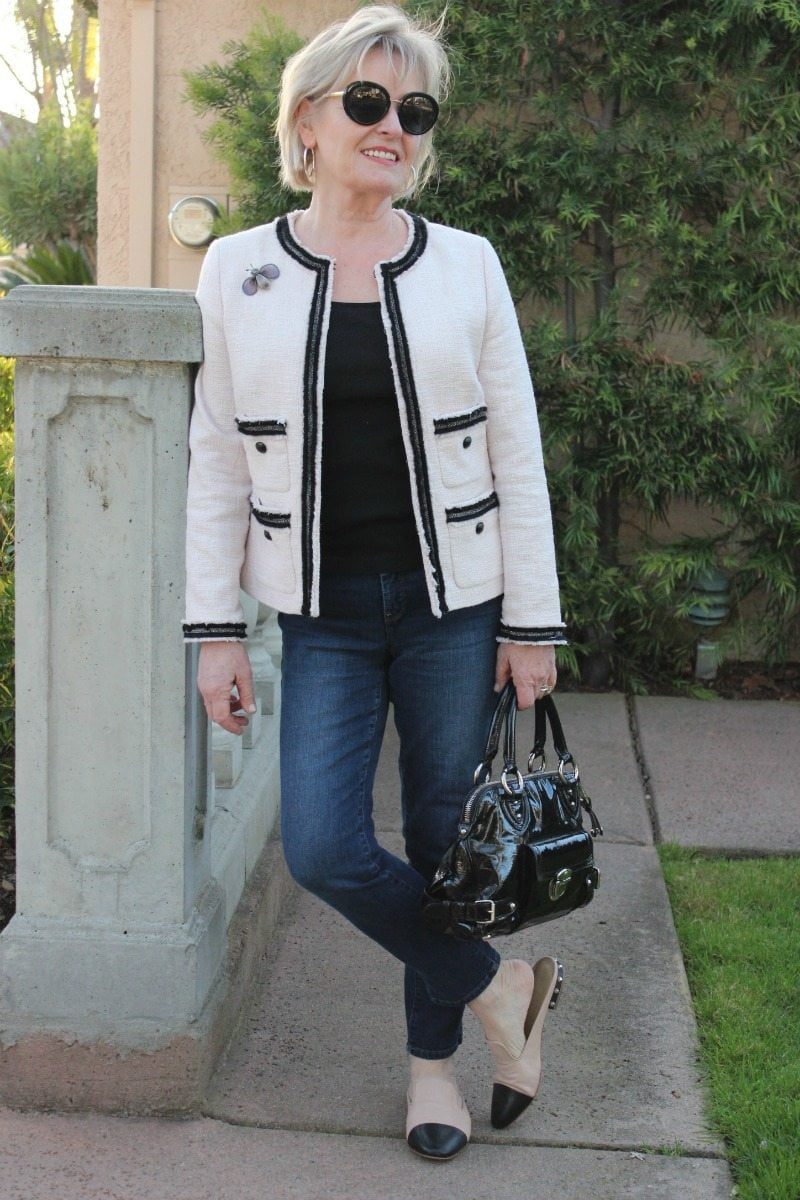 Jennifer Connolly of A Well Styled Life wearing Talbots tweed Jacket