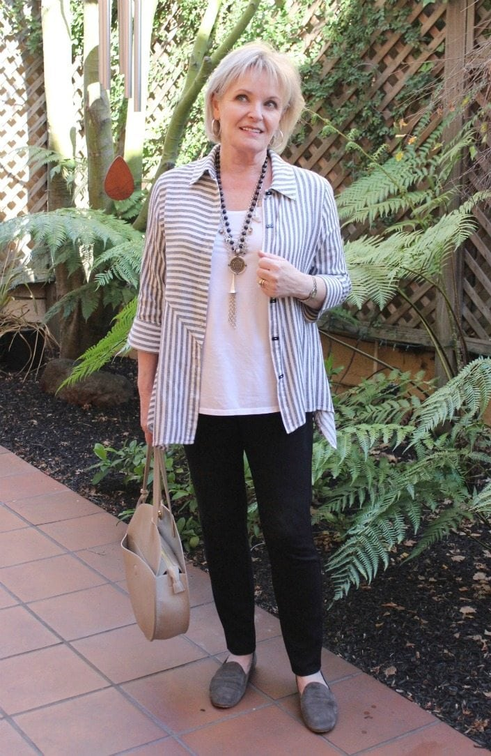 Jennifer Connolly of A Well Styled life wearing striped tunic from Soft Surroundings
