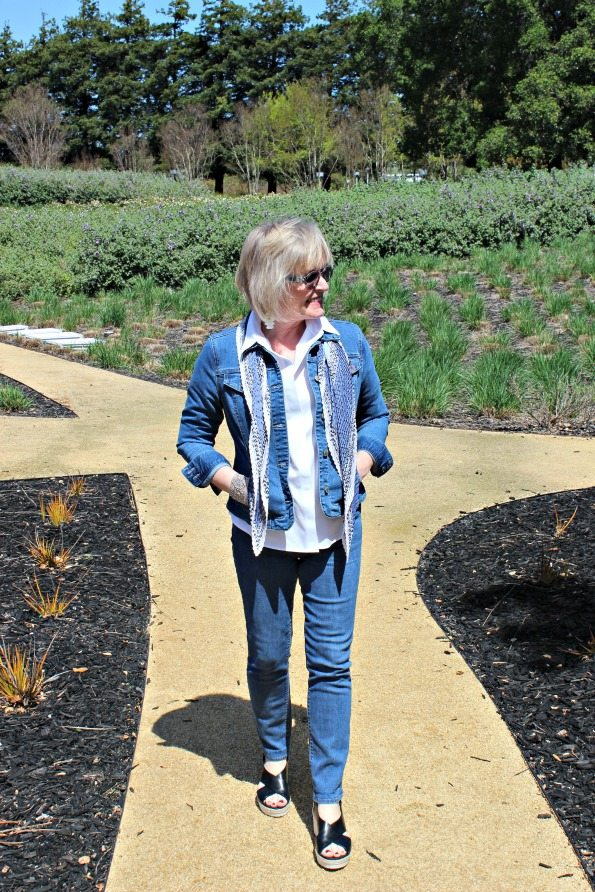 Jennifer Connolly of A Well Styled Life wearing double denim