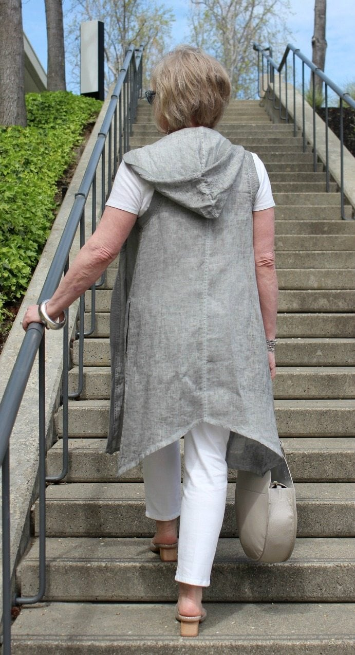 Jennifer Connolly of A Well Styled Life wearing Vera vest from Artful Home