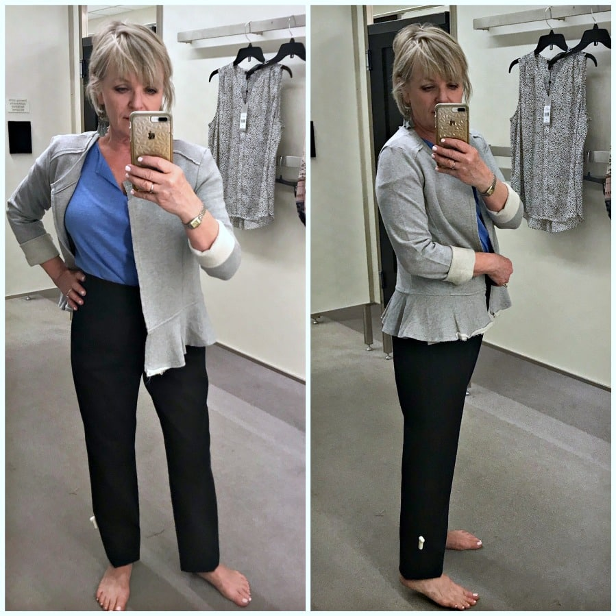 Jennifer Connolly of A Well Styled Life modeling Caslon Knit Peplum Jacket from Nordstrom
