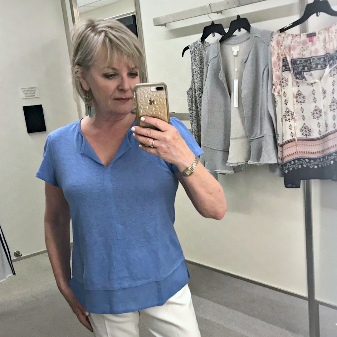 Jennifer Connolly of A Well Styled Life modelingUptown Tiered Hem Linen Tee by Santuary at Nordstrom