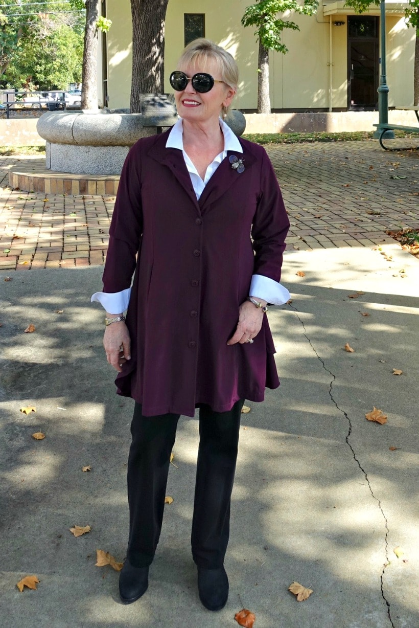 Jennifer Connolly of A Well Styled Life of A Well Styled Life wearing Laskspur Jacket from Artful