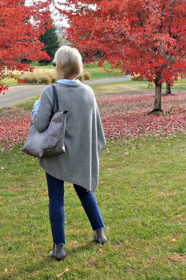 Jennifer Connolly of A Well Styled Life styling double denim with gray accessories