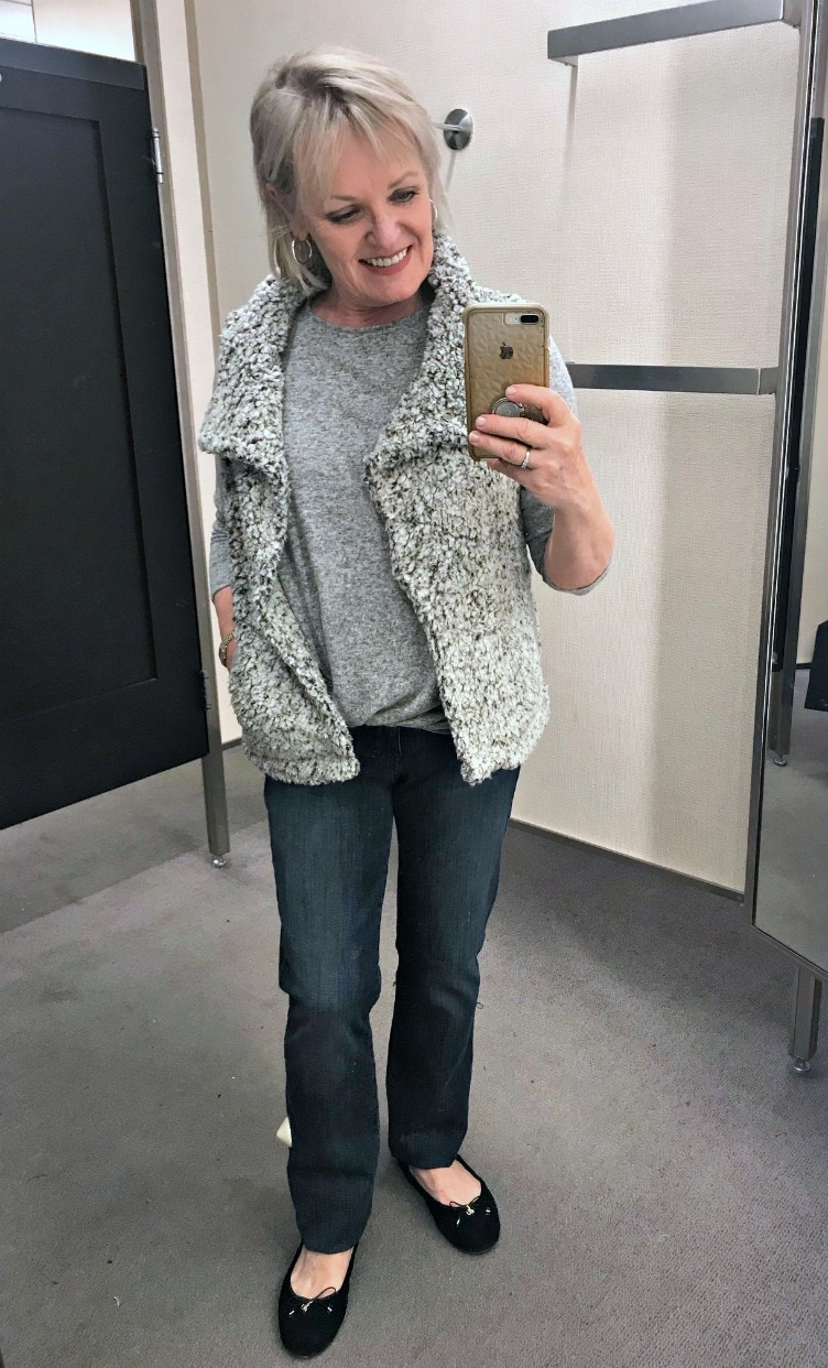 Jennifer Connolly of A Well Styled Life styling Dylan vest from Nordstrom