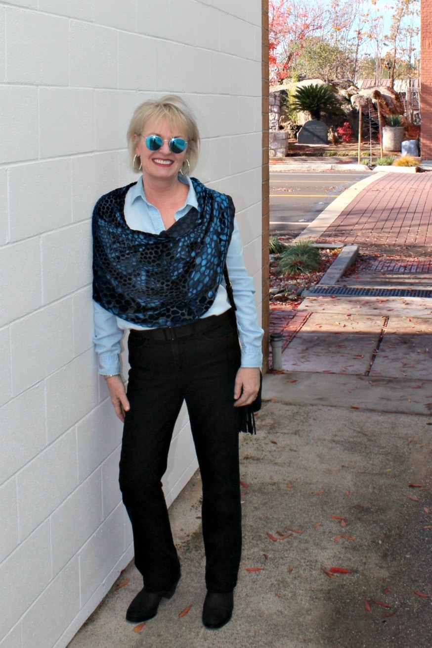 jennifer connolly of a well styled life wearing double denim with velvet cape from artful home