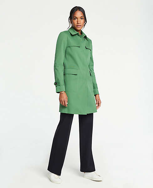 green trench coat from Ann Taylor