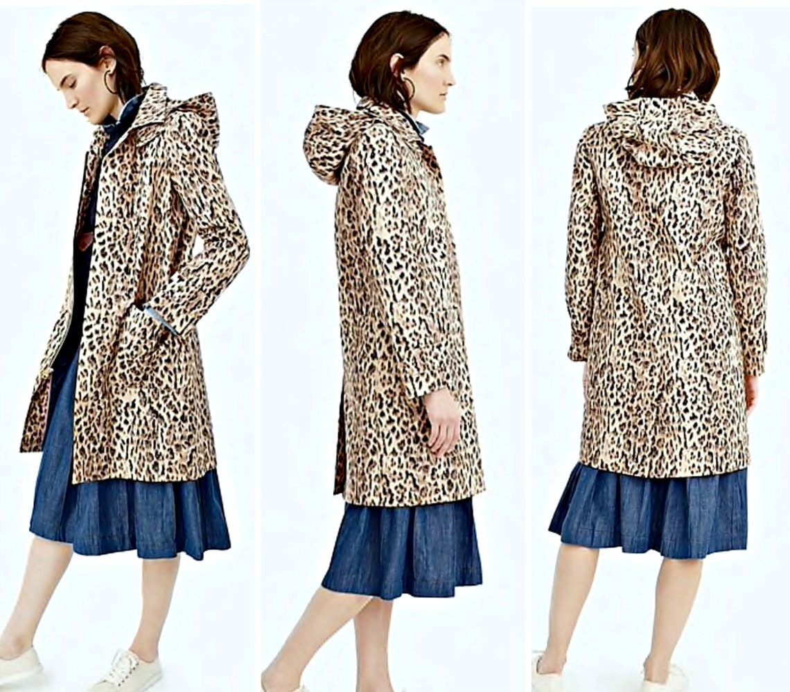 three views of leopard trench coat from J.Crew on A Well Styled Life