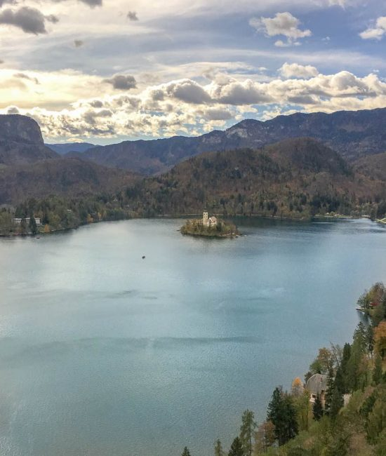 View of Lake Bled. Falling in love with Slovenia www.awelltravelledbeauty.com