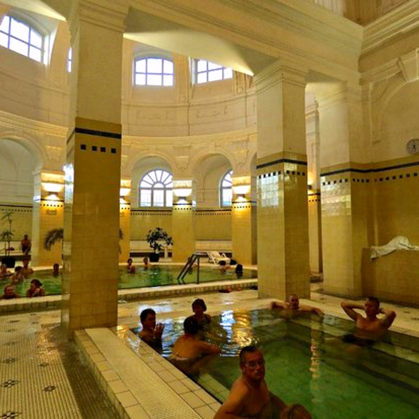 """Szechenyi Baths - A Guide to Budapest Thermal Baths. Bathing in thermal waters has been part of everyday life in Budapest for centuries. Officially named """"The City of Spas"""". which of Budapests baths should you visit. www.awelltravelledbeauty.com"""