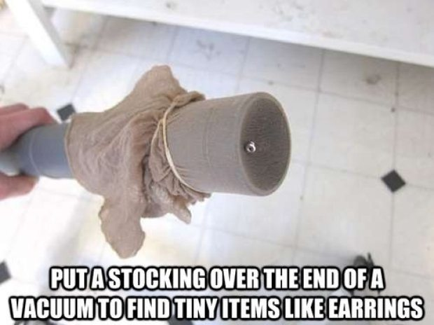 25 Simple Life Hacks That Will Make Your Life Easier stocking over end of vacuum