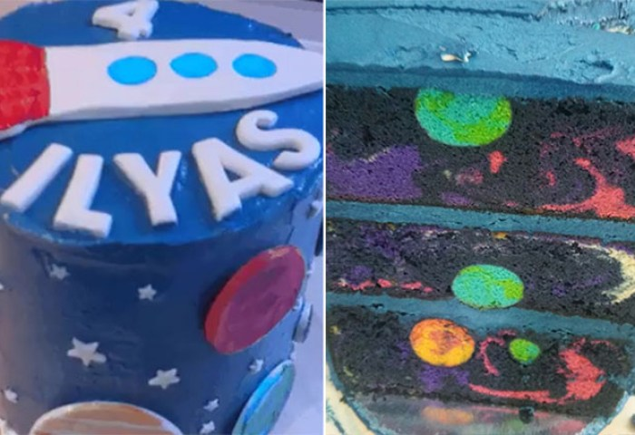 4 Year Old Boys Space Themed Birthday Cake Reveals Hidden Universe