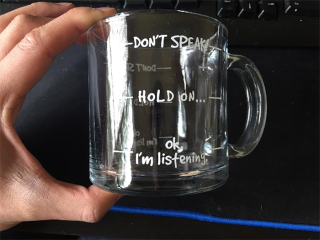 dont speak clear glass cup