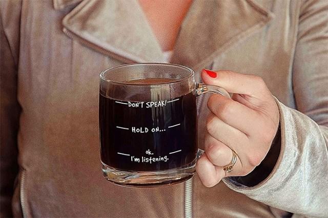 dont speak funny coffee mug clear glass