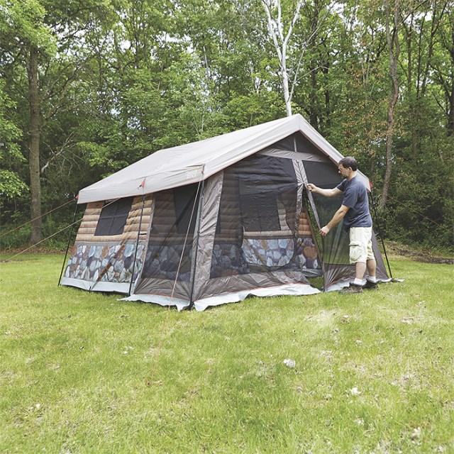 log cabin tent full zipper closure