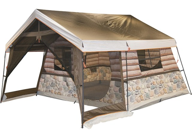 log cabin tent with screened front porch