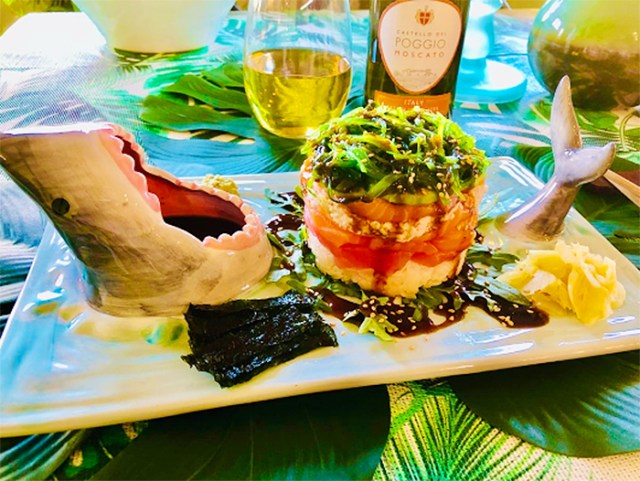 shark-themed food serving tray